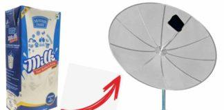 antena parabólica caixa de leite tetrapack