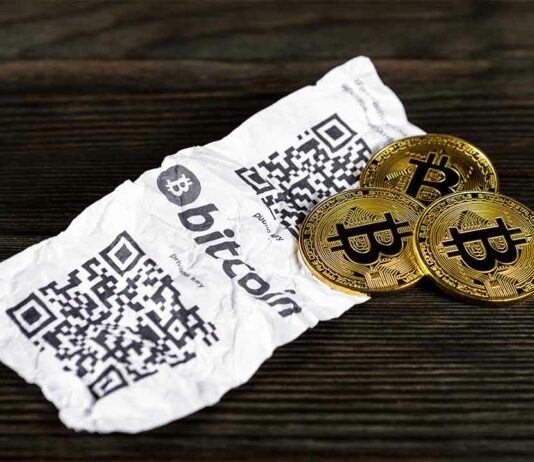 como guardar bitcoin offline carteira de papel
