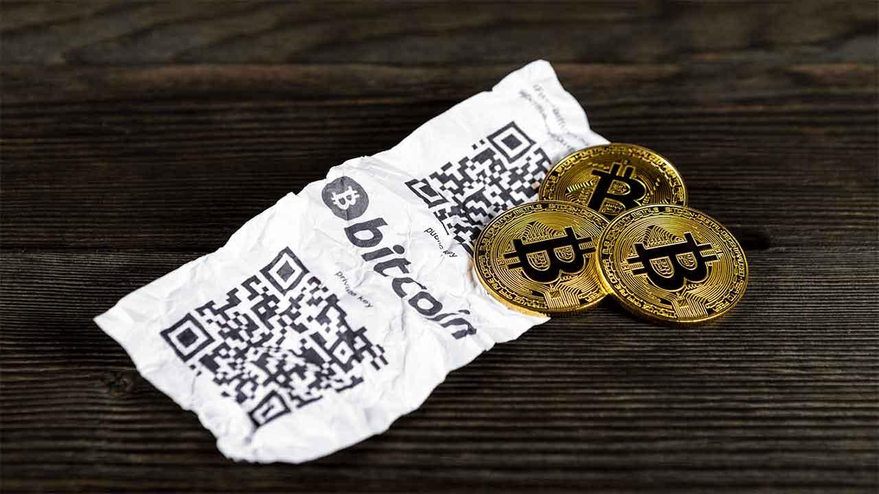 como guardar bitcoin offline carteira de papel
