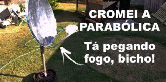 antena parabólica cromada fogão solar