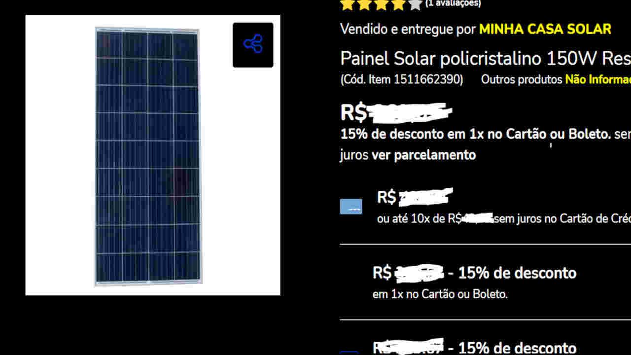 placa solar preço 150w